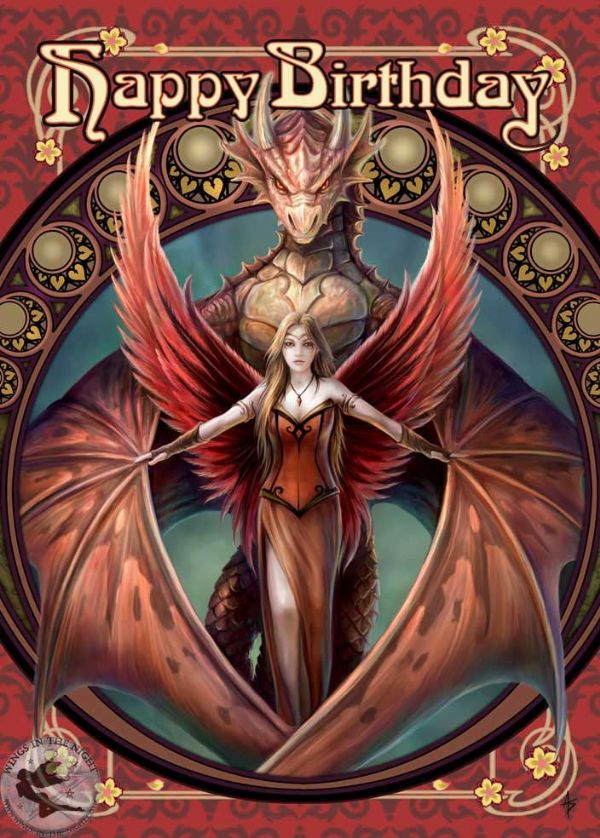 ANNE STOKES Copperwing Dragon Birthday Greeting Card